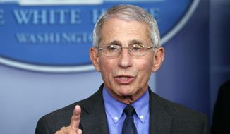 In this April 7, 2020, file photo, Dr. Anthony Fauci, director of the National Institute of Allergy and Infectious Diseases, speaks about the coronavirus in Washington. (AP Photo/Alex Brandon) ** FILE **
