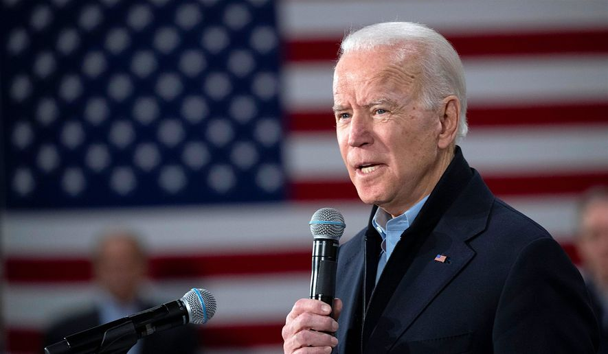 Democratic presidential candidate former Vice President Joe Biden speaks during a campaign rally, Tuesday, Feb. 4, 2020, in Nashua, N.H. (AP Photo/Mary Altaffer) ** FILE **