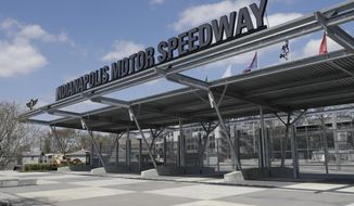 An entrance to Indianapolis Motor Speedway is viewed Saturday, April 18, 2020, in Indianapolis. The speedway is closed due to the coronavirus pandemic. (AP Photo/Darron Cummings)
