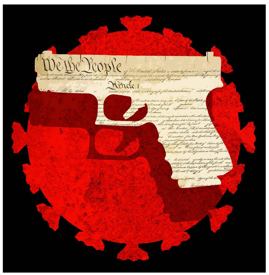 Illustration on the Second Amendment in times of epidemic by Alexander Hunter/The Washington Times