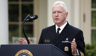 Adm. Brett Giroir, assistant secretary of Health and Human Services, speaks about the coronavirus in the Rose Garden of the White House, Monday, April 27, 2020, in Washington. (AP Photo/Alex Brandon)