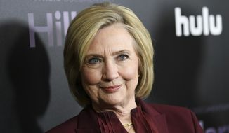 "This March 4, 2020, file photo shows former Secretary of State Hillary Clinton at the premiere of the Hulu documentary ""Hillary"" in New York. (Photo by Evan Agostini/Invision/AP, File)  **FILE**"