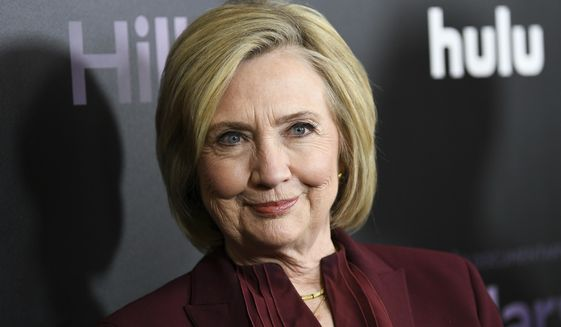 """This March 4, 2020, file photo shows former Secretary of State Hillary Clinton at the premiere of the Hulu documentary """"Hillary"""" in New York. (Photo by Evan Agostini/Invision/AP, File)"""