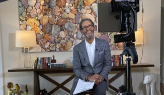 "This image released by HBO Sports shows Bryant Gumbel hosting ""Real Sports with Bryant Gumbel"" from his makeshift studio in Florida. The series returns on April 28. (HBO Sports via AP)"