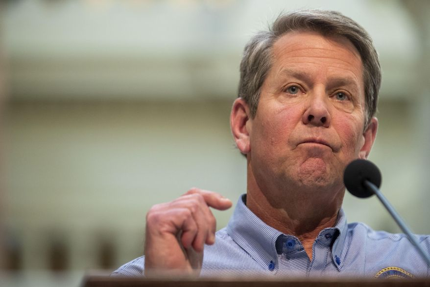 Georgia Gov. Brian Kemp speaks during a news conference at the Capitol building in Atlanta, Monday, April 27, 2020, during the coronavirus outbreak. (Alyssa Pointer/Atlanta Journal-Constitution via AP) **FILE**