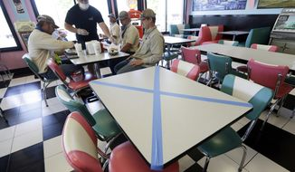 Tables are marked off for social distancing at Hwy 55 Burgers Shakes & Fries Monday, April 27, 2020, in Nolensville, Tenn. Monday is the first day Tennessee restaurants can reopen with reduced seating and social distancing during the coronavirus pandemic.  (AP Photo/Mark Humphrey)