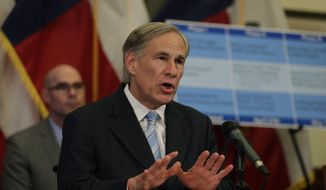 Texas Gov. Greg Abbott speaks during a news conference where he announced he would relax some restrictions imposed on some businesses due to the COVID-19 pandemic, Monday, April 27, 2020, in Austin, Texas. (AP Photo/Eric Gay) ** FILE **