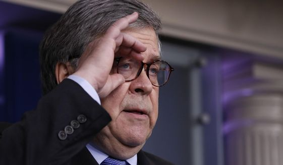 Attorney General William Barr adjusts his glasses as he speaks about the coronavirus in the James Brady Press Briefing Room of the White House, Wednesday, April 1, 2020, in Washington. (AP Photo/Alex Brandon)