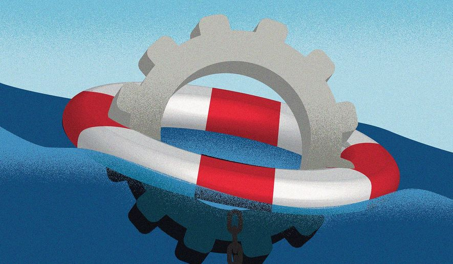 Keeping America pensions afloat illustration by Linas Garsys / The Washington Times