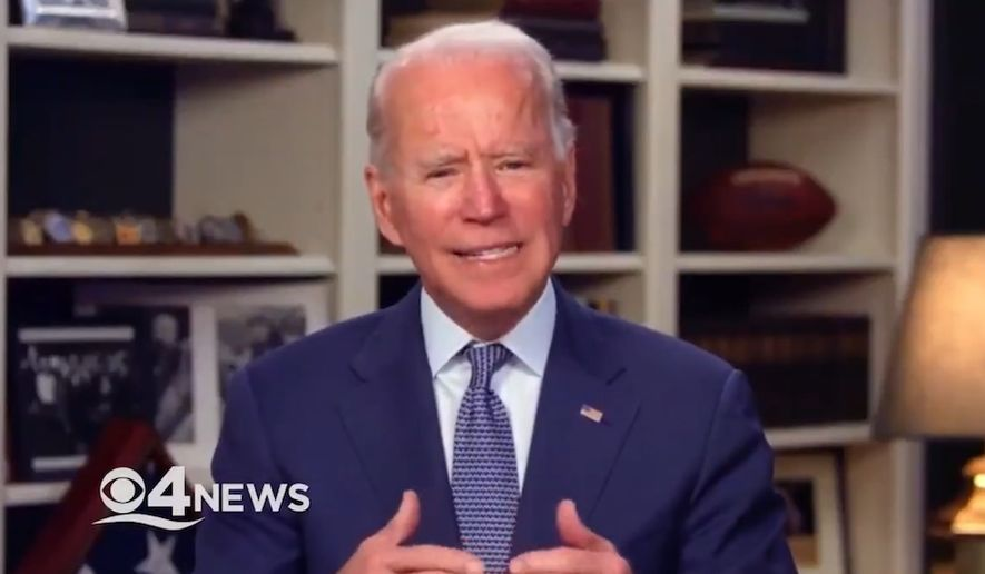 Former Vice President Joe Biden discusses how he would handle the coronavirus pandemic if he were in charge, April 27, 2020. (Image: CBS-4 Miama video screenshot)