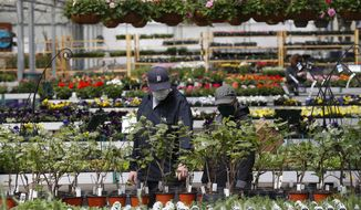 Shoppers look at plants at a nursery in Macomb, Mich., Monday, April 27, 2020. Business groups are pushing Congress to limit liability from potential lawsuits filed by workers and customers who were infected by the coronavirus. (AP Photo/Paul Sancya)