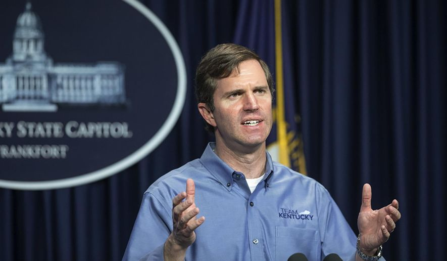 Kentucky Gov. Andy Beshear at a news conference at the state Capitol in Frankfort, Ky., Sunday, April 26, 2020. . (Ryan C. Hermens/Lexington Herald-Leader via AP) **FILE**