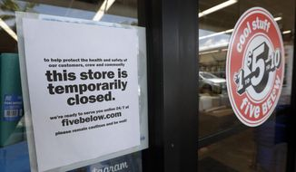 In this April 23, 2020, file photo, a sign is posted on a closed store in North Miami, Fla. (AP Photo/Wilfredo Lee, File)