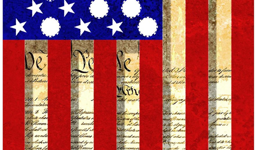 Illustration on the loss of rights in America by Alexander Hunter/The Washington Times