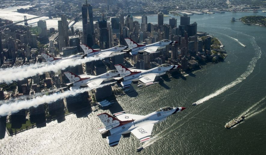 The U.S. Air Force Thunderbirds perform over New York City in a salute to workers battling the coronavirus pandemic on April 28, 2020. (U.S. Air Force photo taken by Tech Sgt. Christopher Boitz.)