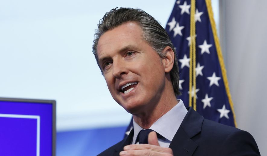 In this Tuesday, April 14, 2020, file photo  California Gov. Gavin Newsom speaks during a news conference at the Governor's Office of Emergency Services in Rancho Cordova, Calif. (AP Photo/Rich Pedroncelli, Pool, File)