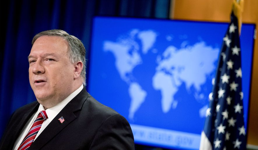 Secretary of State Mike Pompeo speaks at a news conference at the State Department, Wednesday, April 29, 2020, in Washington. (AP Photo/Andrew Harnik, Pool)