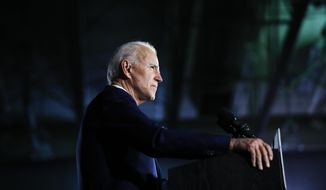 In this Feb. 29, 2020, file photo Democratic presidential candidate former Vice President Joe Biden speaks at a primary night election rally in Columbia, S.C. (AP Photo/Matt Rourke, File)