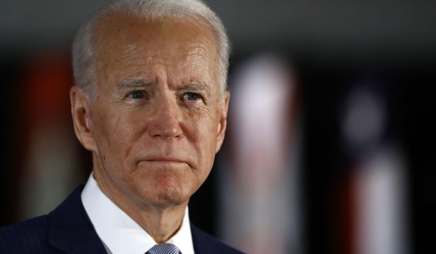 FILE - In this March 10, 2020, file photo Democratic presidential candidate former Vice President Joe Biden speaks to members of the press at the National Constitution Center in Philadelphia. (AP Photo/Matt Rourke, File)