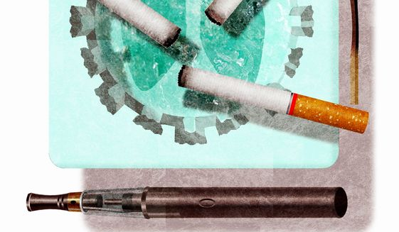 Illustration on efforts to link vaping to the dangers of smoking  by Alexander Hunter/The Washington Times