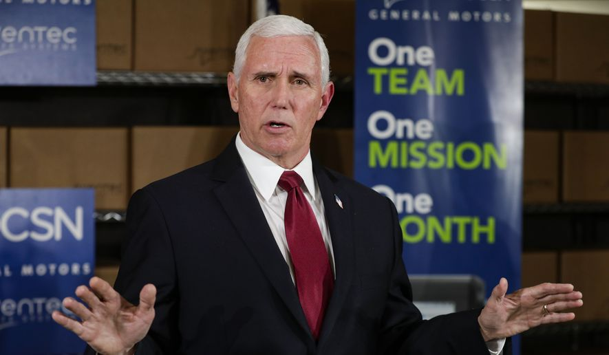 Vice President Mike Pence takes questions following a visit to the General Motors/Ventec ventilator production facility in Kokomo, Ind., Thursday, April 30, 2020. (AP Photo/Michael Conroy) ** FILE **
