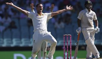 In this Jan. 4, 2019, file photo, Australia's Josh Hazlewood, left, appeals for a LBW decision on India's Rishabh Pant, right, during their cricket test match in Sydney. Cricket Australia is considering an expanded five-test series against India next season and is still planning to host the Twenty20 World Cup later this year, even if it has to be staged in empty stadiums. (AP Photo/Rick Rycroft, File)