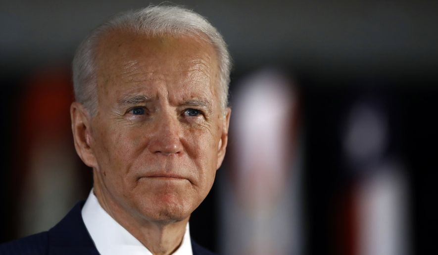 In this March 10, 2020, photo, Democratic presidential candidate former Vice President Joe Biden speaks to members of the press at the National Constitution Center in Philadelphia. (AP Photo/Matt Rourke) **FILE**