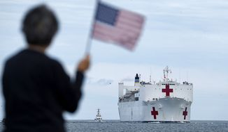 A woman waves an American Flag from Fort Monroe as the USNS Comfort returns to Norfolk from New York Friday, May 1, 2020. (Jonathon Gruenke/The Daily Press via AP)