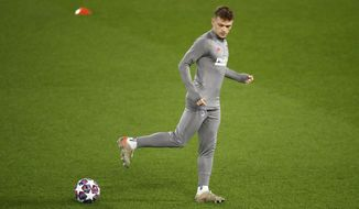 Atletico Madrid's Kieran Trippier during a training session at Anfield, Liverpool, England, Tuesday March 10, 2020, ahead of their Champions League match against Liverpool on Wednesday. (Martin Rickett/PA via AP)