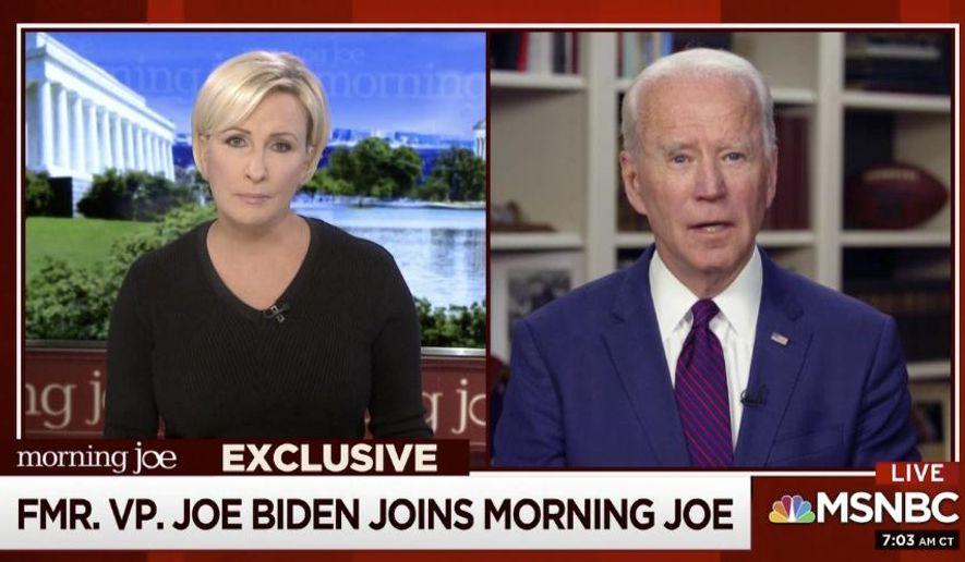This video framegrab image from MSNBC's Morning Joe, shows Democratic presidential candidate former Vice President Joe Biden speaking to co-host Mika Brzezinski, Friday, May 1, 2020. (MSNBC's Morning Joe via AP)