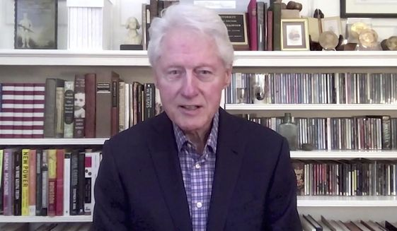 In a photo provided by The Call to Unite, former president Bill Clinton speaks during the 24-hour live event, which was transmitted Friday, May 1, 2020. (The Call to Unite via AP) ** FILE **