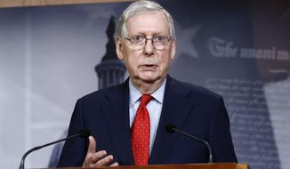 In this April 21, 2020, file photo Senate Majority Leader Mitch McConnell of Ky., speaks with reporters after the Senate approved a nearly $500 billion coronavirus aid bill on Capitol Hill in Washington. (AP Photo/Patrick Semansky, File) **FILE**