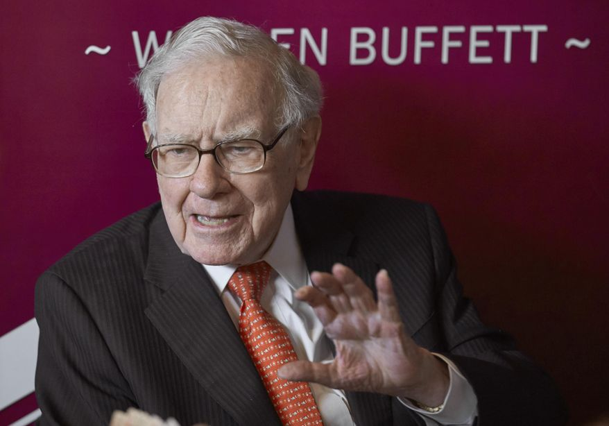 In this May 5, 2019, file photo, Warren Buffett, chairman and CEO of Berkshire Hathaway, speaks following the annual Berkshire Hathaway shareholders meeting in Omaha, Neb. (AP Photo/Nati Harnik, File)