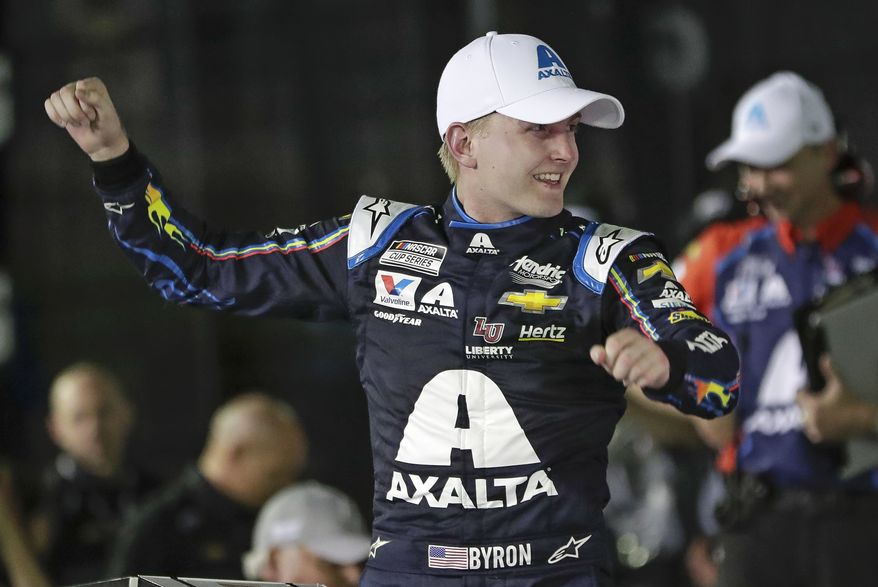 In this Feb. 13, 2020, file photo, William Byron celebrates in Victory Lane after winning the second of two NASCAR Daytona 500 qualifying auto races at Daytona International Speedway in Daytona Beach, Fla. Byron has won NASCARs iRacing event at virtual Dover International Speedway. It is Byrons third victory in the last four iRacing events created to provide NASCAR content during the coronavirus pandemic. (AP Photo/John Raoux, File)  **FILE**