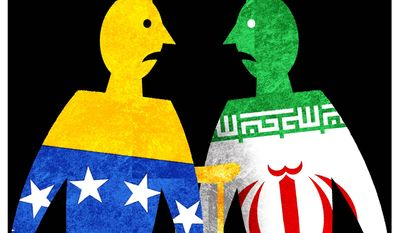 Illustration on the support relationship between Venezuela and Iran by Alexander Hunter/The Washington Times