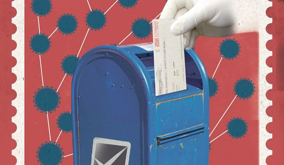 All-mail ballot harvesters illustration by Linas Garsys / The Washington Times