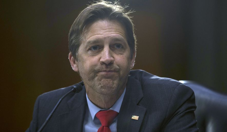 Sen. Ben Sasse, R-Neb., questions Rep. John Ratcliffe, R-Texas, as he testifies before the Senate Select Committee on Intelligence during his nomination hearing to become director of national intelligence on Capitol Hill in Washington, Tuesday, May 5, 2020. (Gabriella Demczuk /The New York Times via AP, Pool)