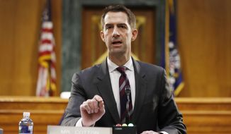 Sen. Tom Cotton, R-Ark., speaks during a Senate Intelligence Committee nomination hearing for Rep. John Ratcliffe, R-Texas, on Capitol Hill in Washington, Tuesday, May. 5, 2020. (AP Photo/Andrew Harnik, Pool) ** FILE **