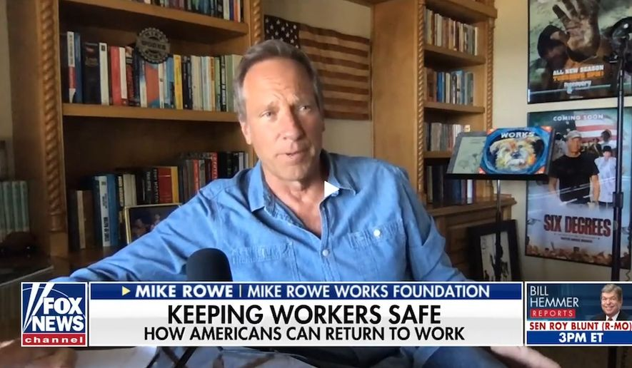 """Mike Rowe of """"Dirty Jobs"""" fame discusses the conronavirus pandemic and its effect on so-called """"non-essential"""" jobs, May 5, 2020. (Image: Fox News video screenshot)"""