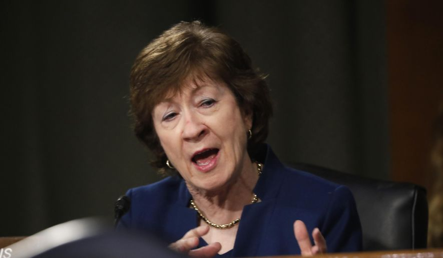 Sen. Susan Collins, R-Maine, speaks during a Senate Intelligence Committee nomination hearing for Rep. John Ratcliffe, R-Texas, on Capitol Hill in Washington, Tuesday, May. 5, 2020. The panel is considering Ratcliffe's nomination for director of national intelligence. (AP Photo/Andrew Harnik, Pool)