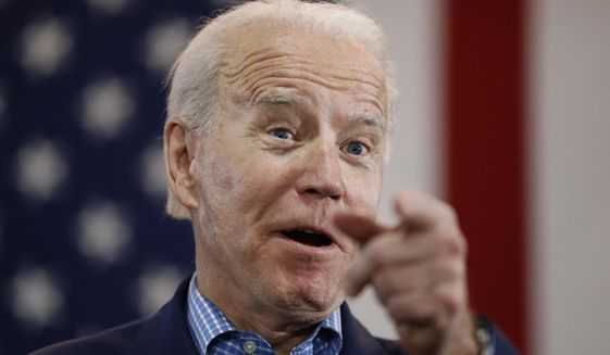 Democratic presidential candidate former Vice President Joe Biden speaks during a caucus night event in Las Vegas, Feb. 22, 2020. (AP Photo/John Locher) **FILE**