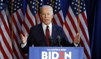 In this Tuesday, Jan. 7, 2020, file photograph, presumptive Democratic presidential nominee Joe Biden gestures during a foreign policy statement in New York. (AP Photo/File, Richard Drew) ** FILE **