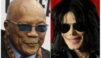 """This combination photo shows Quincy Jones at the world premiere of """"Black Godfather"""" in Los Angeles on June 3, 2019, left, and Michael Jackson at a press conference in London on March 5, 2009. On Tuesday, May 5, 2020, a California appeals court overturned most of a 2017 jury verdict awarding Jones $9.4 million from the Michael Jackson estate. A jury had granted Jones the sum for the use of Jackson hits he produced that appeared in the concert film """"This Is It"""" and Cirque du Soleil shows. But California's 2nd District Court of Appeal ruled that the jury misinterpreted a contract and took away some $6.9 million that jurors had said Jones was owed.  (AP Photo)"""