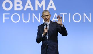 This Dec. 13, 2019, file photo shows former President Barack Obama speaking at the Gathering of Rising Leaders in the Asia Pacific, organized by the Obama Foundation in Kuala Lumpur, Malaysia. (AP Photo/Vincent Thian, File)