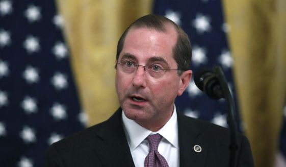 Health and Human Services Secretary Alex Azar speaks about protecting seniors, in the East Room of the White House, Thursday, April 30, 2020, in Washington. (AP Photo/Alex Brandon) ** FILE **