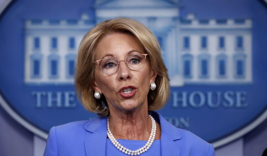 In this March 27, 2020, photo, Education Secretary Betsy DeVos speaks about the coronavirus in the James Brady Press Briefing Room in Washington. (AP Photo/Alex Brandon) **FILE**
