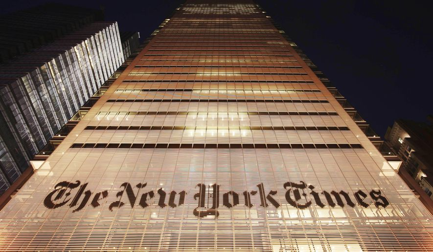 In this Oct. 21, 2009, photo, The New York Times building is shown in New York City. (AP Photo/Mark Lennihan) **FILE**