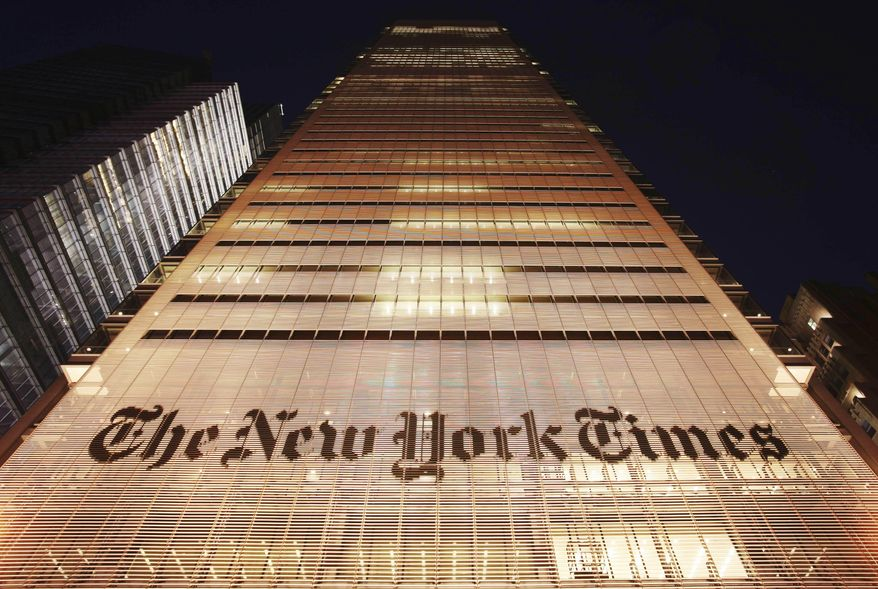 In this Oct. 21, 2009, file photo, The New York Times building is shown in New York. (AP Photo/Mark Lennihan) ** FILE **