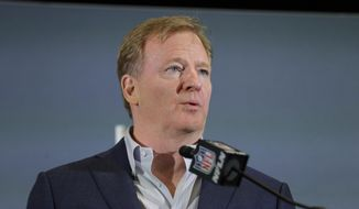 In this Feb. 3, 2020 file photo NFL Commissioner Roger Goodell speaks during a news conference in Miami. The NFL has set protocols for reopening team facilities and has told the 32 teams to have them in place by May 15. In a memo sent by Goodell and obtained Wednesday, May 6, 2020 by The Associated Press, several phases of the protocols were laid out. The first phase would involve a limited number of non-player personnel, initially 50 percent of the non-player employees (up to a total of 75) on any single day, being approved to be at the facility. But state or local regulations could require a lower number. (AP Photo/Brynn Anderson, file)  **FILE**