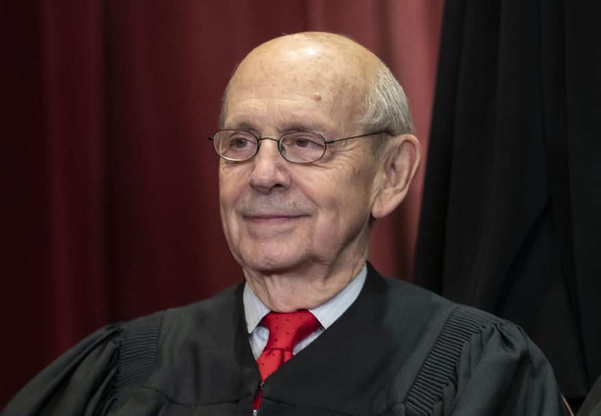 In this Nov. 30, 2018, file photo Associate Justice Stephen Breyer, appointed by President Bill Clinton, sits with fellow Supreme Court justices for a group portrait at the Supreme Court Building in Washington. Justice Breyer told CNN in a July 2021 interview he was uncertain as to if or when he'd retire from the high court.  (AP Photo/J. Scott Applewhite, File)  **FILE**